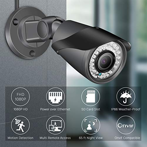 Upgraded Outdoor PoE Security Camera, 1080P Bullet IP Camera with SD Card Slot, Power over Ethernet IP66 Waterproof IR Night Vision Motion Detection Onvif Compatible Remote Viewing Surveillance Camera