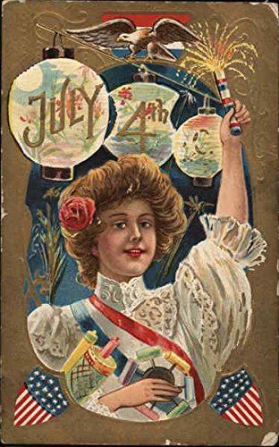 - July 4TH - Woman Holding Firecrackers 4th of July Original Vintage Postcard