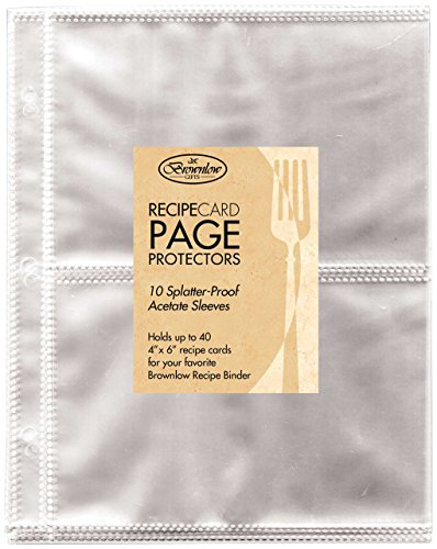 Brownlow Gifts Universal Recipe Card Refill Sheets, (Plastic Refill Binder)