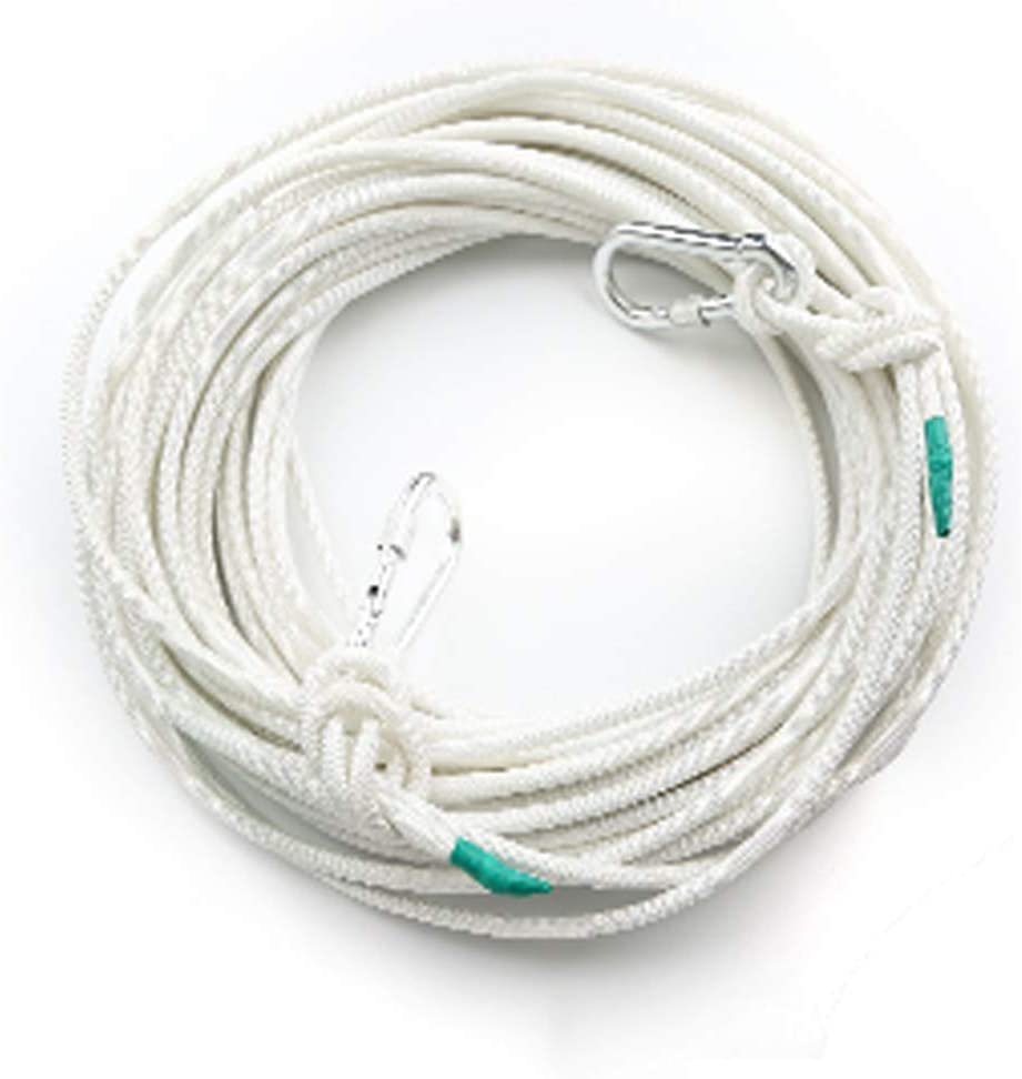 クライミングロープ、10、15、20、30、40、50メートル消防用緊急スチールコア3 mm、直径8 mm白ラペリング安全ロープ(サイズ:50 m)