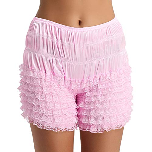 YiZYiF Women's Ruffle Panties Dance Bloomer Lace Lingerie Sissy Frilly Knickers Pettipants Pink Medium