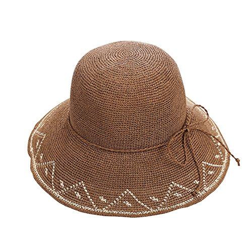 Cappellino colore Scuro Colore Grigio Tesa A Con Pieghevole Spiaggia Visiera Da Cappello Di Caffè Larga Ynn Estivo Donna wW7qx0RB