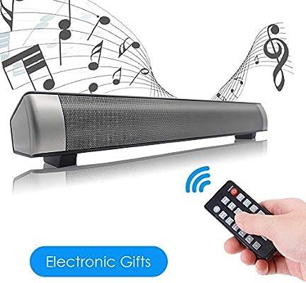 Barra de Sonido, Barra de Sonido Envolvente Bluetooth inalámbrica y por Cable para TV/PC/Tableta/Teléfono Inteligente, Altavoz de TV para Cine en casa con Cable AUX/RCA con Control Remoto (Negro): Amazon.es: Electrónica
