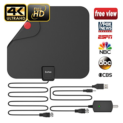[Updated 2018 Version] Professional TV Antenna, Best Indoor Digital HDTV Antennas Amplified 85 Mile Range 4K HD VHF UHF Freeview for Life Local Channels and Programming for All Type of (100 Mile Range)