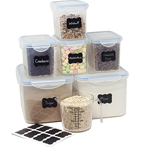 MiCasa Airtight Large Food Storage Containers - 6 Piece Set + BONUS 2 ½ Measuring Cup + 8 FREE Chalkboard labels - Ideal for Sugar, Flour, Baking supplies, Bulk Pantry Food Storage - BPA Free Plastic