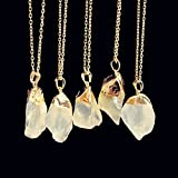 Fashion Unisex Irregular Necklace Natural Crystal Quartz Stone Gemstone Pendant#by pimchanok shop (@2)