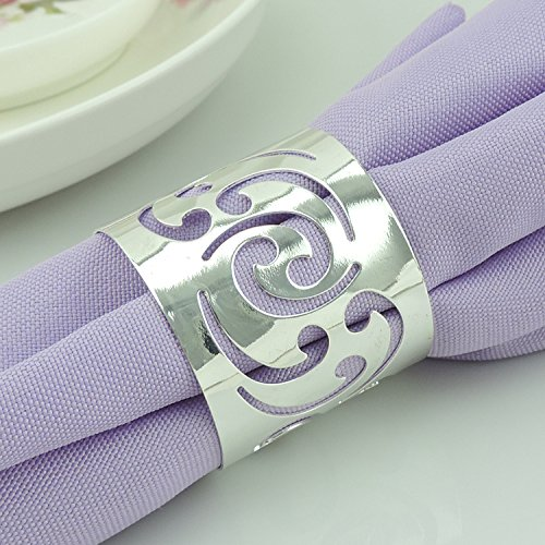 Tangpan Napkin Ring for Wedding Round Banquet Napkin Holder Set of 10 (Silver) by Tangpan