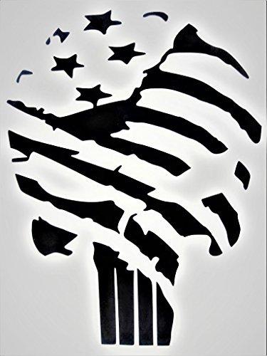 Punisher Skull United States Flag America USA Military Vinyl Decal Sticker|BLACK|Cars Trucks Vans SUV Laptop Wall Art|5.5