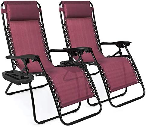 Best Choice Products Set of two Adjustable Steel Mesh Zero Gravity Lounge Chair Recliners w/Pillows and Cup Holder Trays, Burgundy