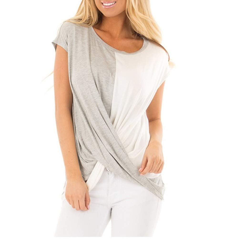 LOPILY Women Round Collar Short Sleeve Two Color Splicing T-Shirt Easy Jacket