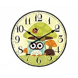 Cute Mushrooms Animal 12 Wall Clock, Eruner Family Decoration French Country 12-Inch Wood Clock Painted Retro Style for Children's Room(Mushrooms, M2)