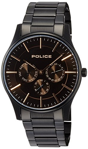 POLICE watch Courtesy Small seconds Day-Date stainless steel band 14701JSB-02M Men's [regular imported goods]