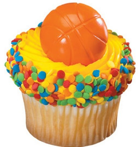 CLEARANCE FREE STANDARD SHIPPING - 24 Rings - Basketball - with a Bonus Cupcake Tips Card - We Ship Within 1 Business Day!