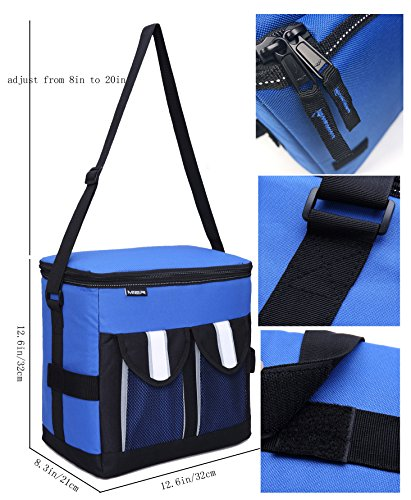 MIER 30Cans Collapsible Soft Cooler Bag Insulated Picnic Lunch Bag for Adult, Men, Women, Leakproof Liner, Blue, Large by MIER (Image #3)