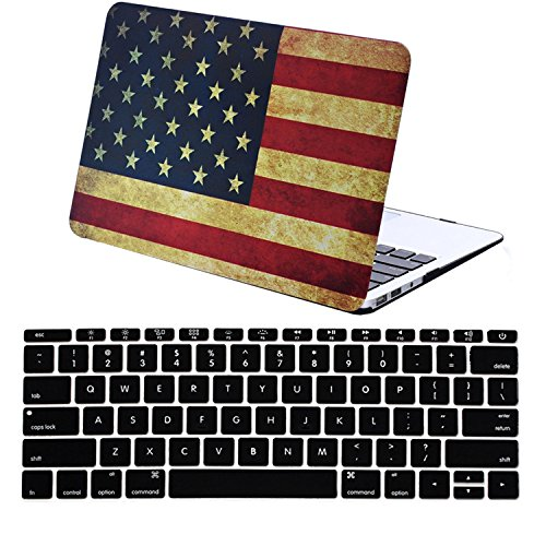 Book 13.3 Air Case 2 in 1 Soft-Touch American US Flag Pattern Hard Shell Cover + Black Keyboard Cover for MacBook Air 13 Inch (Model:A1369/A1466) ()