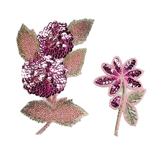(Altotux Pink Floral Sequins Beaded Sew on Applique Flower Patch Craft Supplies By Piece (Large) )