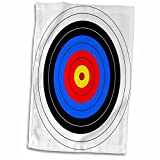 3D Rose Target with Red Yellow Black White and Blue Rings-Archery-Goal-Sport-Game-Illustration Towel, 15'' x 22'', Multicolor