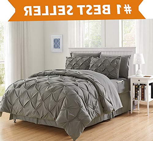 Hemau, Softest, Coziest 8-Piece Bed-in-a-Bag Comforter Set on Amazon! - Silky Soft Complete Set Includes Bed Sheet Set with Double Sided Storage Pockets, Full/Queen, Gray | Style 503192679