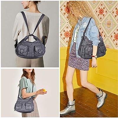 Angelkiss Women's Multifunctional Shoulder Bag Satchels Hobo Handbags Soft Leather Messenger Crossbody Purse with Pockets