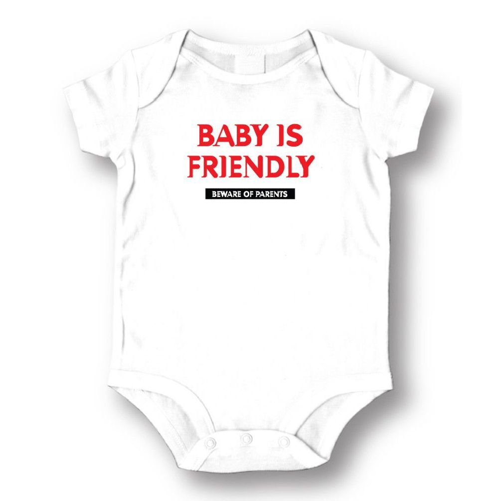 Dustin clothing series Baby Is Friendly Beware Of Parents Baby Boys Girls Toddlers Funny Romper 0-24M