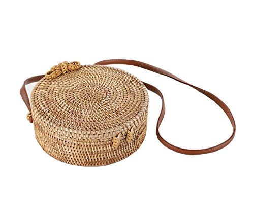 handwoven straw bag cute rattan handbag summer beach purse (floral common bow)