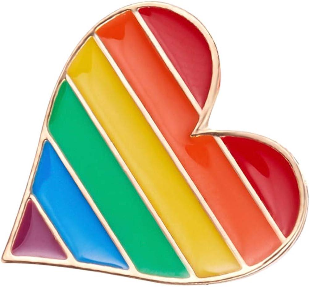 Amosfun 4pcs Arcobaleno in Lega Spilla Cuore Bandiera Spilla Goccia Olio Carino Spilla Clip per Regali di Natale Donne Ragazze