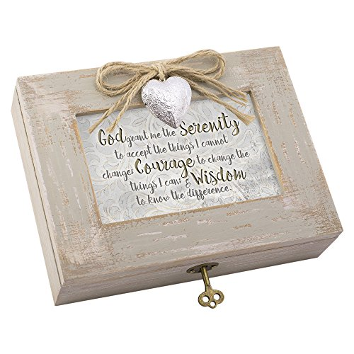 Cottage Garden God Grant The Serenity to Accept Natural Taupe Jewelry Music Box Plays Amazing Grace