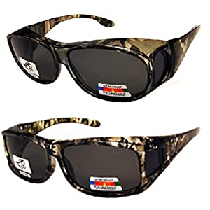 2 Pair of Unisex Camouflage Sun Shield Fit Over Sunglasses Polarized - Wear Over Prescription Glasses - Cover Over Glasses - Size Medium in Green and Light Green Camo (Microfiber Pouch Included)
