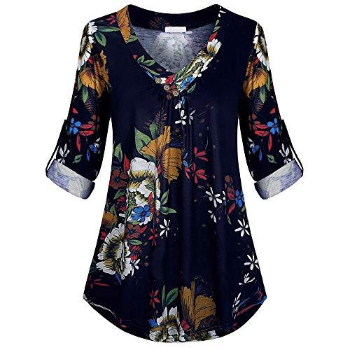 NUWFORWomen Plus Size Long Sleeve Print V-Neck Button Pullover Tops Shirt(Navy,XXXXXL) ()