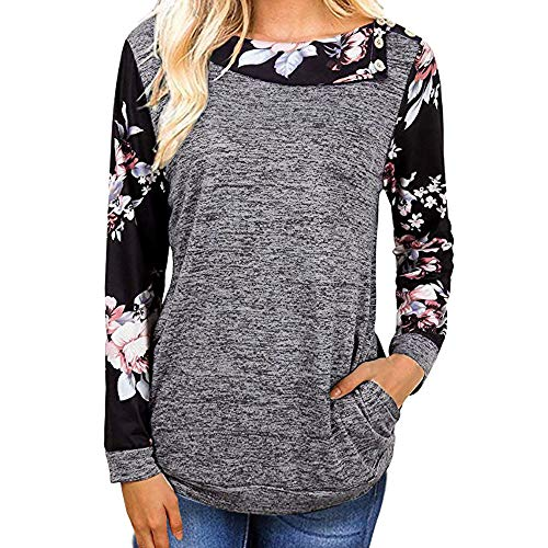 vermers Women Sweatshirt Clearance - Women Casual Floral Print Long Sleeve T Shirt Pullover Tops