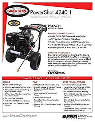 Simpson PS3228-S PowerShot 3200 PSI 2.8 GPM Honda GX200 Engine Gas Pressure Washer by Simpson