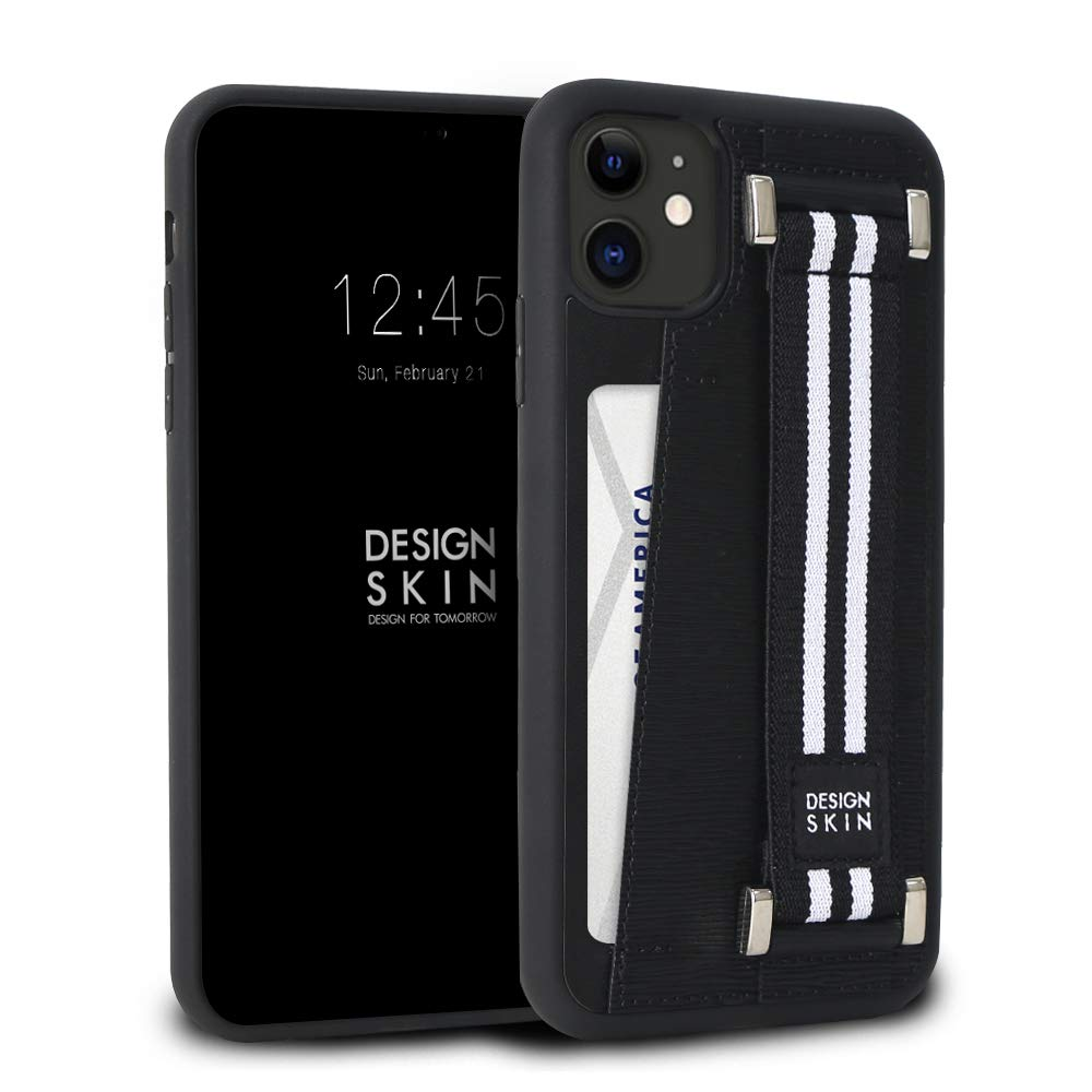Design Skin Genuine Leather Phone Case and Card Holder for Apple iPhone 11, with Elastic Hand Strap for Extra Grip - Black