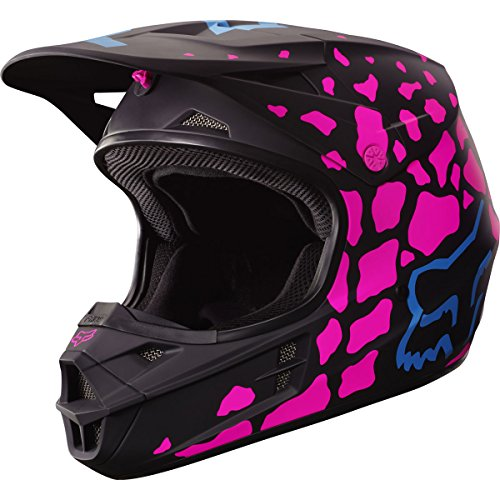 Fox Racing Grav Adult V1 Motocross Motorcycle Helmet - Black/Pink / Small (Womens Fox Helmet Mx)
