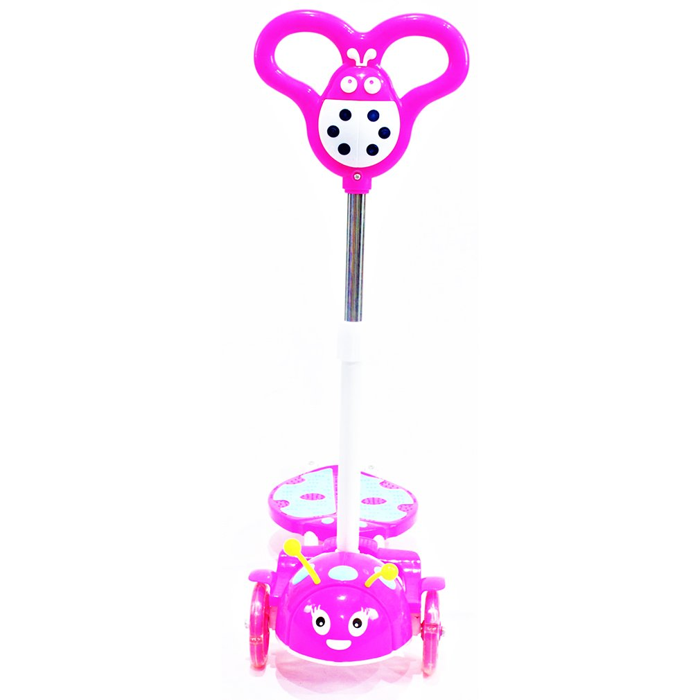 Toytexx Kids 4 Wheels Scooter Kick Scooter-Breatles Design-Pink Color