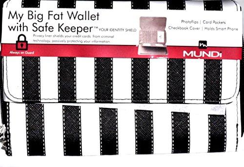 MUNDI Women's Faux Leather MY BIG FAT WALLET Flap RFID Clutch Ladies One Size i566x (B/W Stripes)