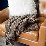 SARANONI Luxury Decorative Comfy Home Throw Wave Blanket (50'' x 60'') Umber Wave