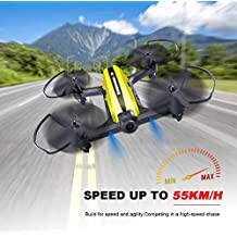 Mini Drone Racing Drone Quadcopter 720P Wide Angle HD Camera Live Video Headless Mode One Key Return 3D Flips 2.4GHz 6 Axis Gyro Remote Control RC Helicopter Boys Adults Toys Yellow+Green