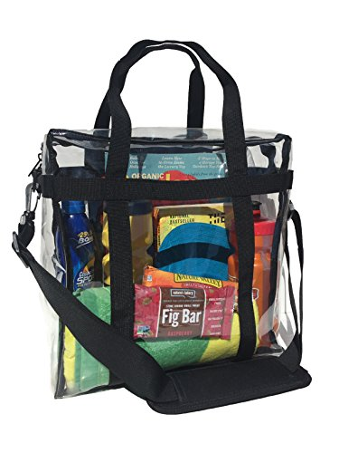 STURDY Heavy-Duty Clear Tote Bag, NFL Stadium Approved 12 x 12 x 6 Inch, UPGRADED PVC PLASTIC, REINFORCED BOTTOM & SIDES, Quality Zipper, Phone Pocket, Padded Removable Shoulder Strap (Nascar Pocket)