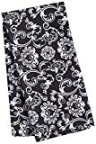 LinenTablecloth Black with White Floral Damask Kitchen Towels, 2-Pack