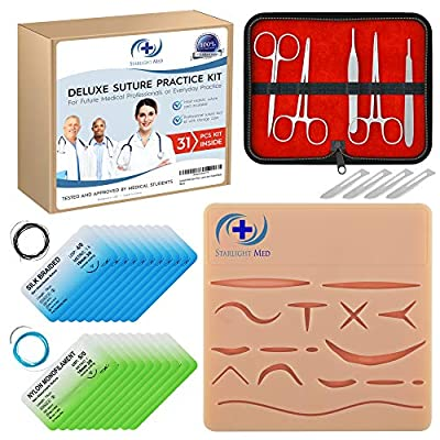 Starlight Med Suture Practice Kit - Complete 31 Piece Medical Suture Kit - Large Silicone Training Pad with 16 Pre-Cut Wounds, 5 Piece Professional Tool Kit, 20 Premium Sutures and 4 Scalpel Blades