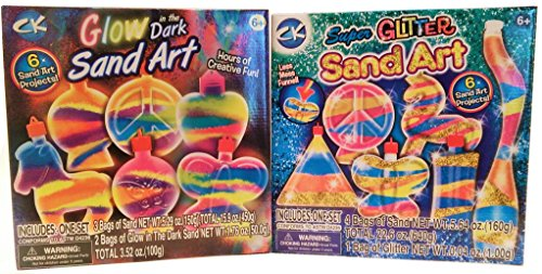 Colorful CK Sand Art Bundle! Includes Glow in the Dark and Super Glitter Sand Art. Both with Six Sand Art Projects!