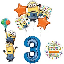 Despicable Me 3 Minions Stacker 3rd Birthday Party Supplies and balloon Decorations