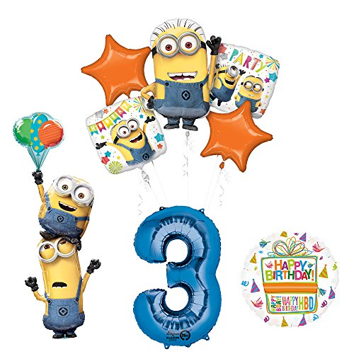 Despicable Me 3 Minions Stacker 3rd Birthday Party Supplies and balloon Decorations]()