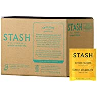 Stash Tea Lemon Ginger Herbal Tea, 100 Count Teabags in Foil (packaging may vary) Individual Green Tea Bags for Use in Teapots Mugs or Cups, Brew Hot Tea or Iced Tea