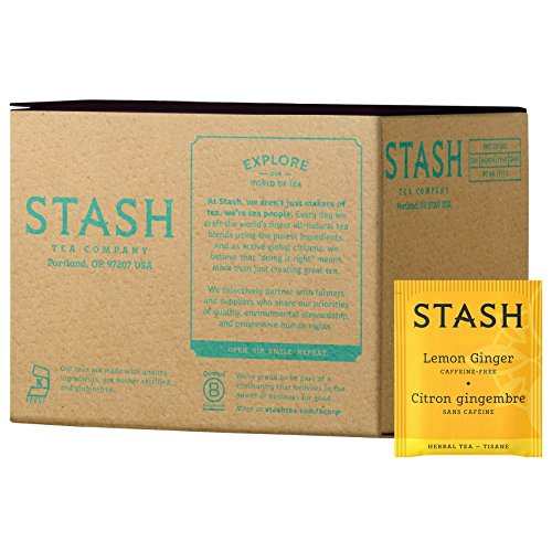 Stash Tea Lemon Ginger Herbal Tea 100 Count Box of Tea Bags, Premium Herbal Tisane, Citrus-y Warming Herbal Tea, Enjoy Hot or Iced