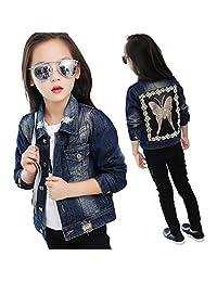 Star Flower Big Girls Denim Jackets Outerwear