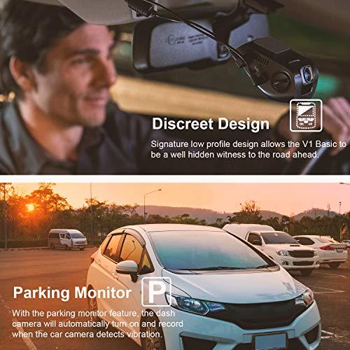 "Rexing V1 Basic Dash Cam 1080P FHD DVR Car Driving Recorder, 2.4"" LCD Screen 170°Wide Angle, G-Sensor, WDR, Parking Monitor, Loop Recording (V1 Basic)"