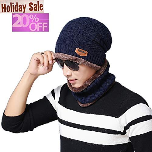 Blevla 2-Pieces Winter Beanie Hat Scarf Set Warm Knit Hat Thick Knit Skull Cap For Men Women Navy