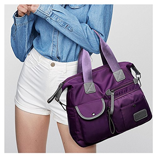 Ladies Purple Handbag Life Fashion Bags Bags Nylon Body Sling Women's Shopping Waterproof Daily Gracosy Shoulder Bag Large Cross Office Multifunction Bag Folding Messenger Bag Casual Tote for E4OnnqFpI