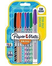 Paper Mate InkJoy Wrap penne a sfera, punta media retrattile, colori assortiti, confezione da 8, motivi assortiti